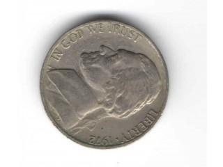 Moeda Níquel 5 Five Cents Dolar 1972 Usa Americano